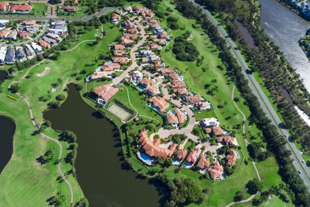Aerial view of australian luxury golf neighborhood Banco de Imagens