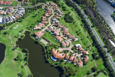 Aerial view of australian luxury golf neighborhood Stock Photo