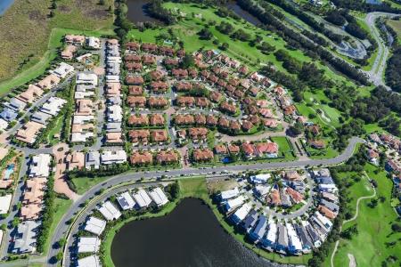 オーストラリアの高級地区の空中写真