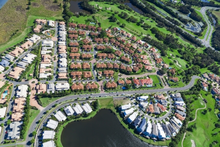 Aerial view of luxury australian neighborhood photo