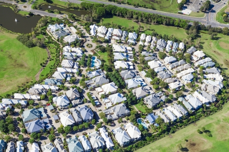 culdesac: Aerial view of luxury australian neighborhood