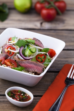 Thai beef salad with vermicelli noodles Stock Photo - 21862926
