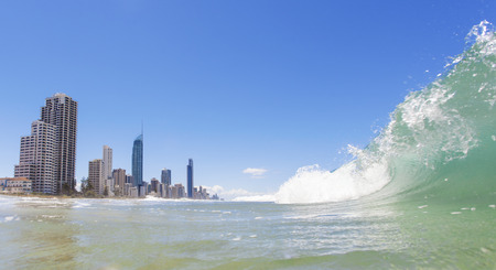 surfers paradise: Waves rolling on Surfers Paradise beach on Gold Coast, Australia Stock Photo