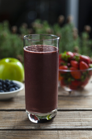Acai, strawberry and apple smoothie photo