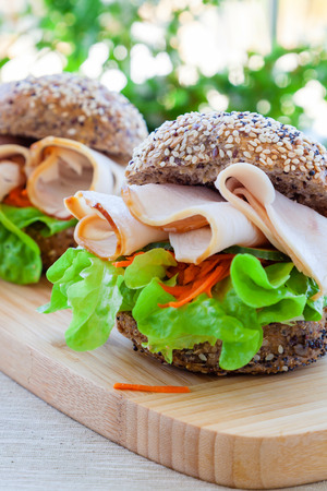 wholemeal: Low fat turkey and salad sandwich