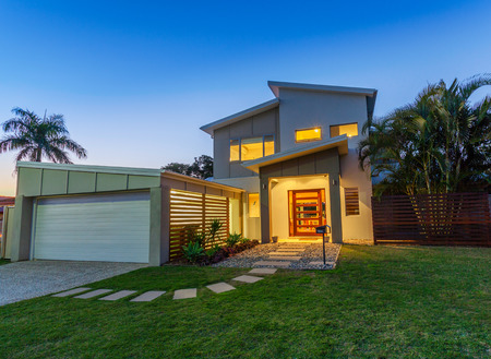 Modern australian home front at dusk photo
