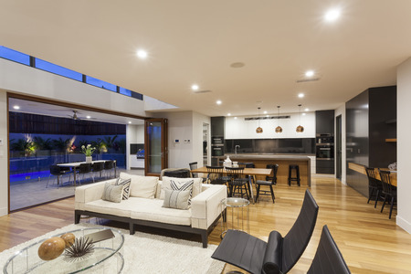 Big modern home with kitchen, living room and outdoor\ area