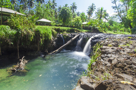 samoa: Exotic waterfall on the island of Upolu in Samoa