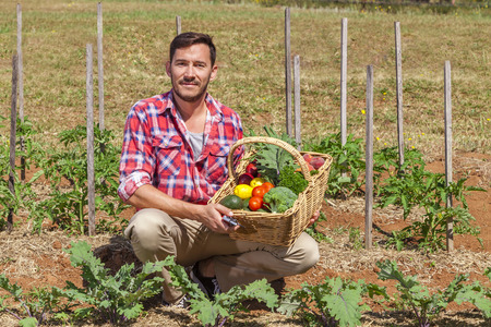 harvest basket: Organic farmer with fresh fruit and vegetables in garden Stock Photo