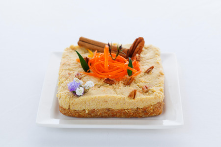 carrot cake: Vegan raw carrot cake with mixed nuts