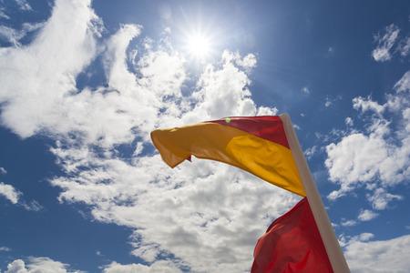 life saving: Surf life saving flag on australian beach