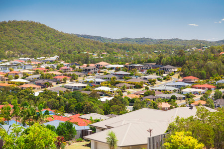 suburban: View of suburban Australian homes on sunny hillside