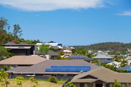 suburb: Solar panels on homes in Australian suburb