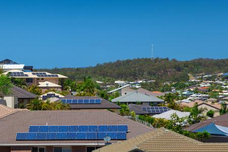 Solar panels on homes in Australian suburb photo
