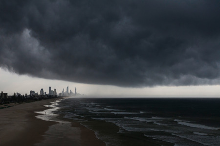 surfers: Dark clouds over Surfers Paradise on the Gold Coast, Australia