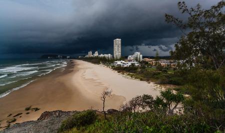 gold coast australia: Stormy approaching Burleigh Heads on the Gold Coast, Australia