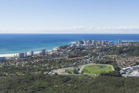 coolangatta: Aerial view of Coolangatta and Kirra Beach on the Gold Coast, Queensland.
