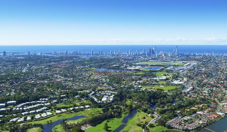 gold coast australia: Aerial view of Gold Coast and surrounding suburbs