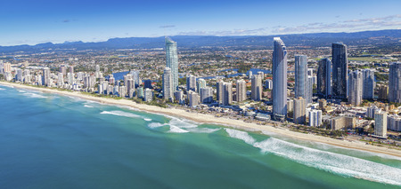 aerial view city: Aerial view of Surfers Paradise and surrounding suburbs