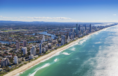 goldcoast: Aerial view of Surfers Paradise on the beautiful Gold Coast, Australia Stock Photo