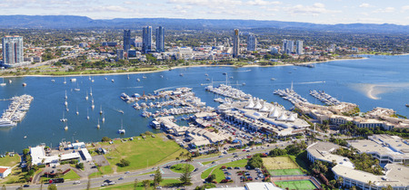 Broadwater with marina and Southport on the Gold Coast, Queensland