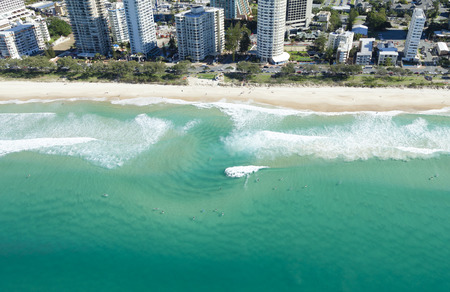 surfers: Surfers in the water in Surfers Paradise on Queenslands Gold Coast