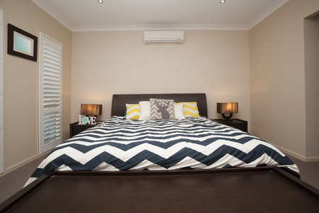 master bedroom: Master bedroom with king size bed and air conditioning