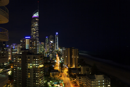 surfers paradise: Surfers Paradise nightscape on Queenslands Gold Coast Stock Photo