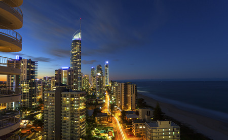 qld: Twilight over Surfers Paradise on Queenslands Gold Coast