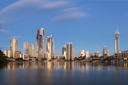 Sunset on Surfers Paradise on Queenslands Gold Coast Banco de Imagens