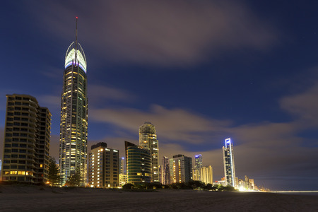 Surfers Paradise at dusk on the Gold Coast, Queensland, Australia Stock Photo