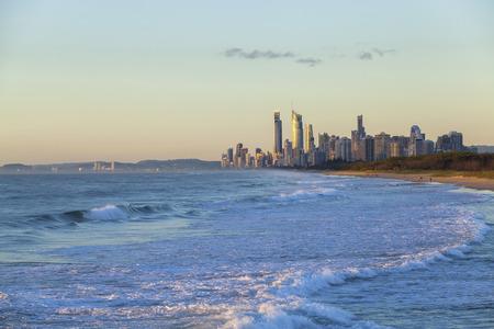 gold coast australia: Golden sunrise over the Gold Coast in Queensland Australia