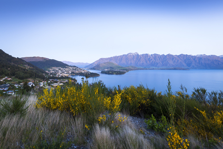 spring landscape: Sunset over Queenstown on Lake Wakatipu, New Zealand