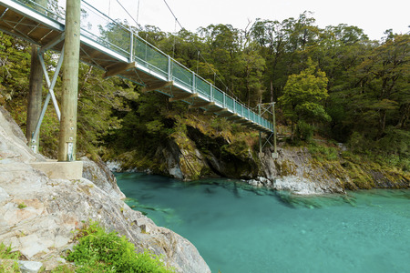 aspiring: Blue Pools in Mount Aspiring National Park, New Zealand.