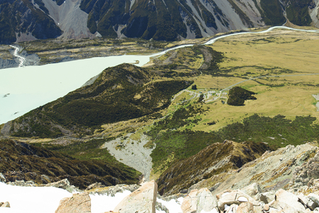 campground: White Horse Hill Campground at the bottom of Mount Cook Stock Photo