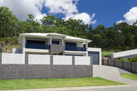 modern home: Modern home exterior on a sunny day