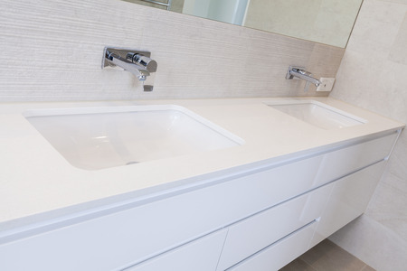 modern bathroom: Modern double bathroom interior Stock Photo