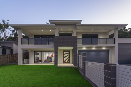 luxury: Modern home exterior at dusk