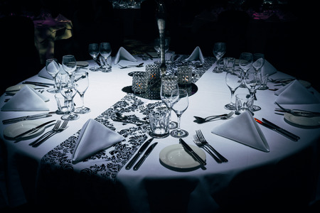 Luxurious table setting at evening event Stock Photo