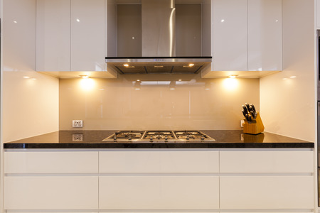 cooktop: Modern gas cooktop in new home