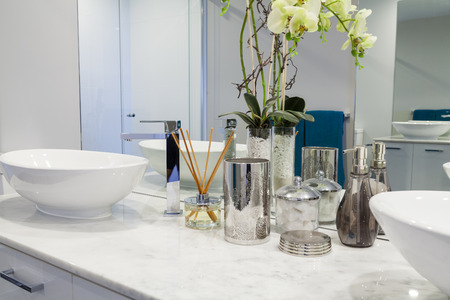 bathroom interior: Modern double bathroom interior Stock Photo