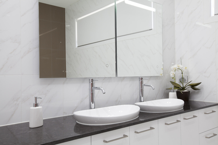 bathroom interior: Modern double bathroom interior Stock Photo