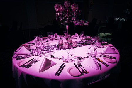 luxurious: Luxurious table setting at evening event Stock Photo