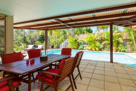 Alfresco backyard with pool