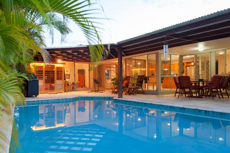 Backyard with swimming pool in stylish home Stockfoto