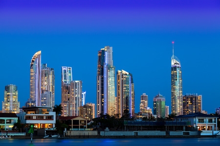 surfers: Sunset over Surfers Paradise on Queenslands Gold Coast Stock Photo