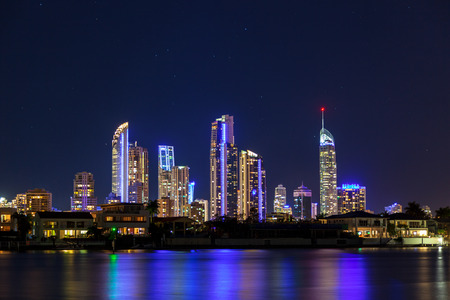 surfers paradise: Sunset over Surfers Paradise on Queenslands Gold Coast Stock Photo