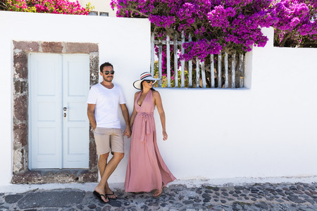 island: Happy romantic couple on Greek Island