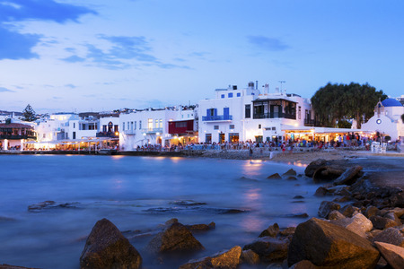 Sunset in Little Venice, Mykonos, Greece