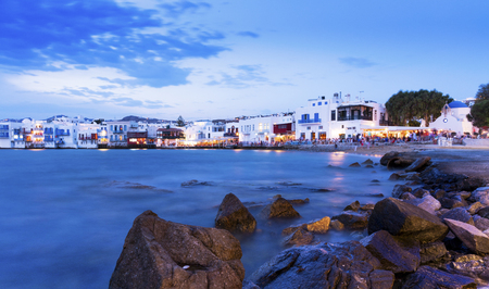 the little venice: Sunset in Little Venice, Mykonos, Greece